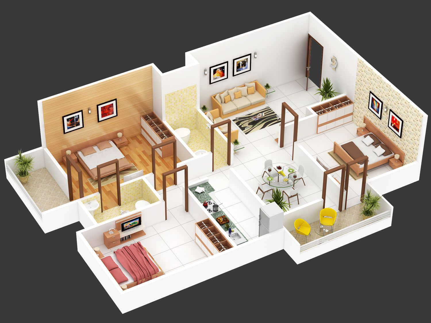 3bhk Floor Plan Isometric View Design For Hastinapur Smart Village Three Bedroom House Plan Simple House Design House Plans