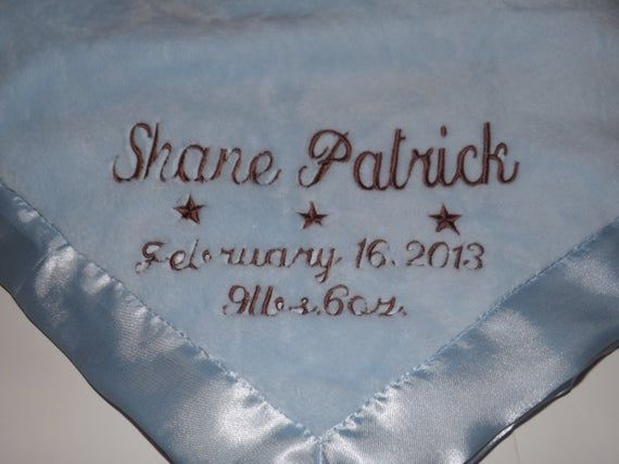 Personalized Baby Boy Gift Set, Keepsake Blanket, Bib and Burp Cloth with Name and Date, Super Soft #babyboyblankets