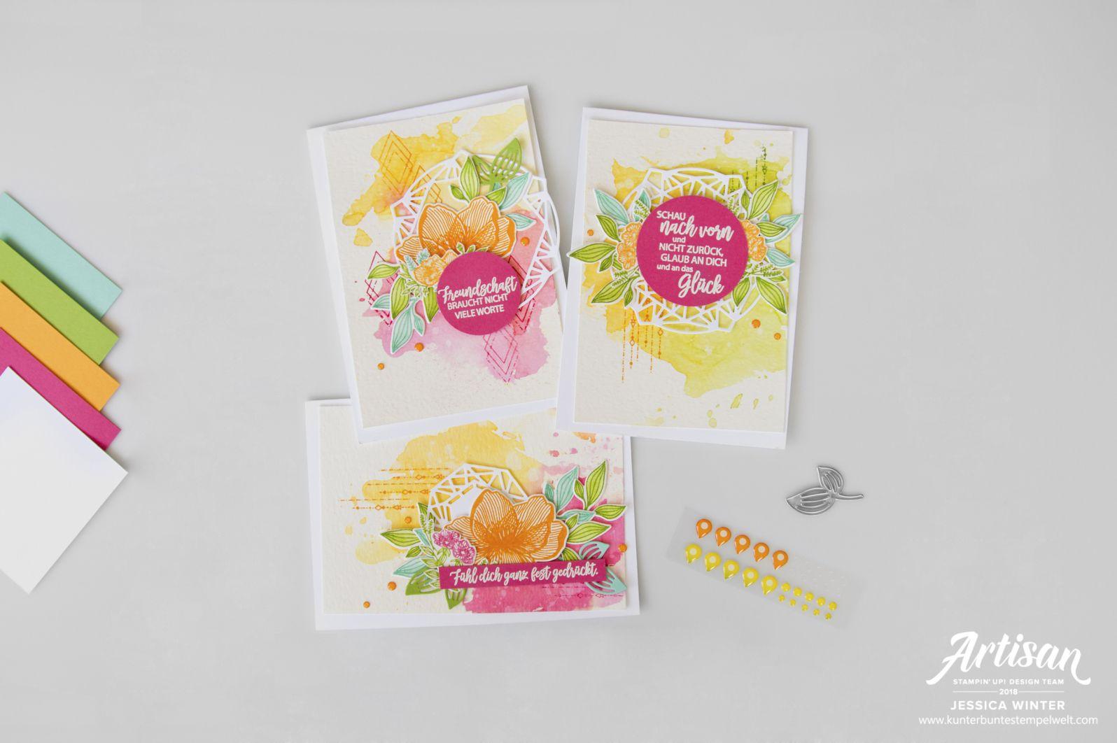 Stampin up karte mit dem stempelset blütenzauber und thinlitsformen zarte zierde mit aquarellhintergrund meine