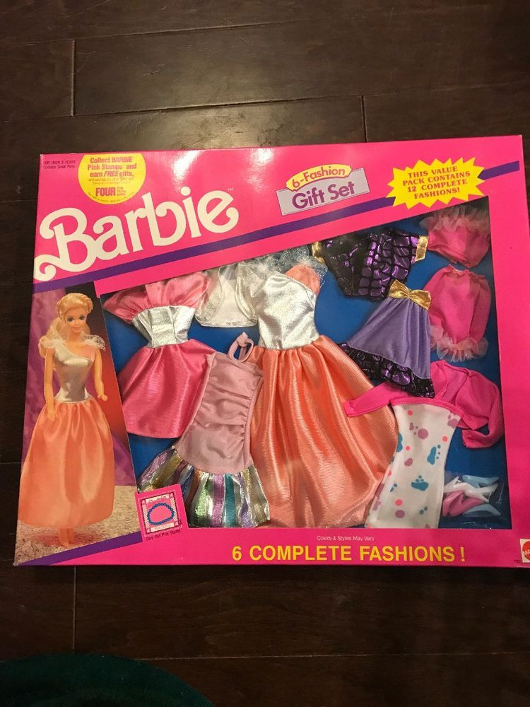 Vintage 1990 Barbie Mattel Complete 6 Fashion Gift Set Doll Clothes Accessories Mattel Accessories Mini Barbie Dolls Barbie Gifts Barbie