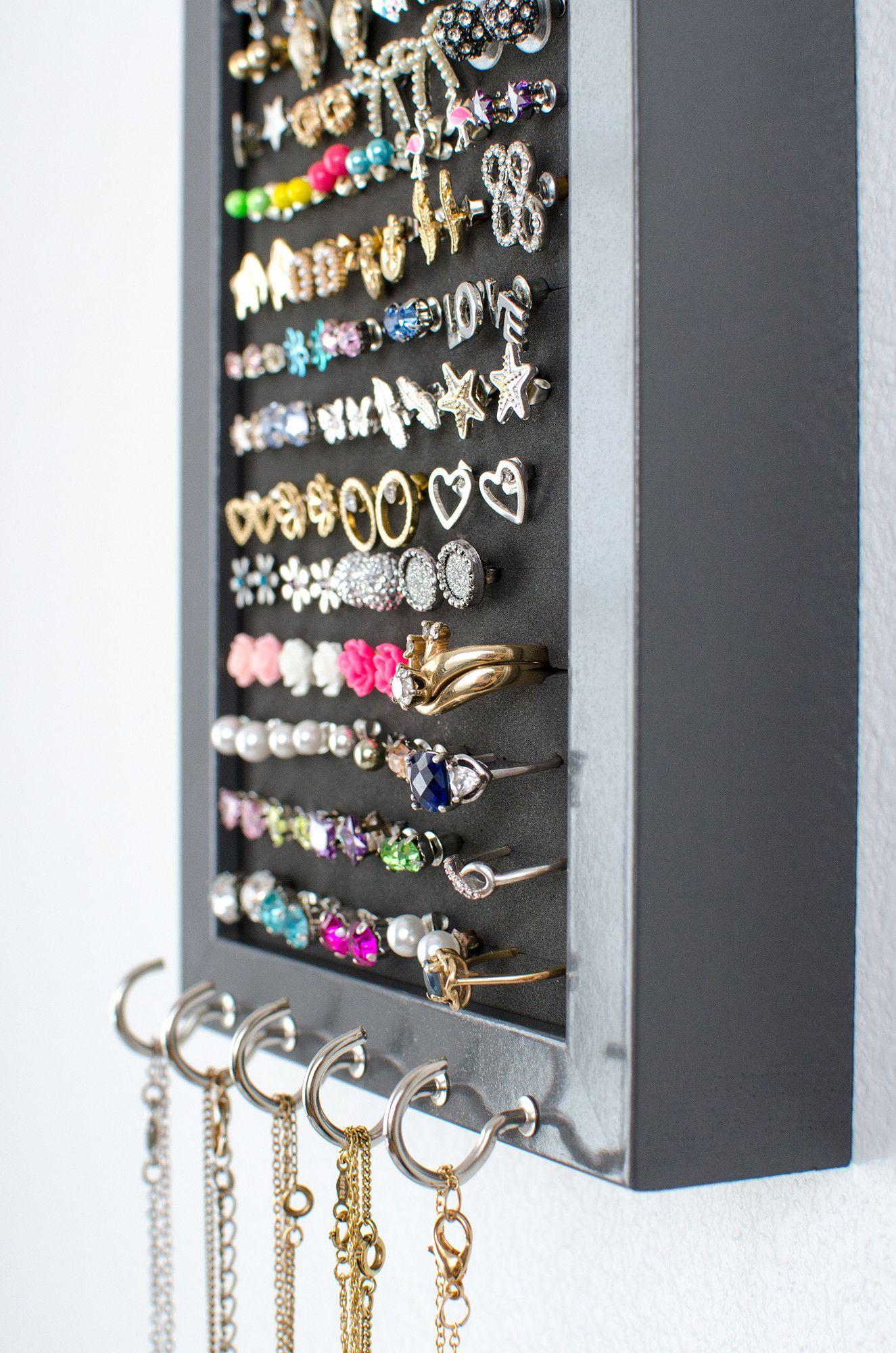 Hook earring necklace organizer 5x7 gray frame foam