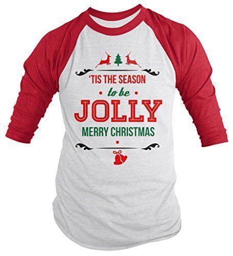 Shirts By Sarah Men's Christmas Shirt Tis The Season Jolly 3/4 Sleeve Raglan Shirts