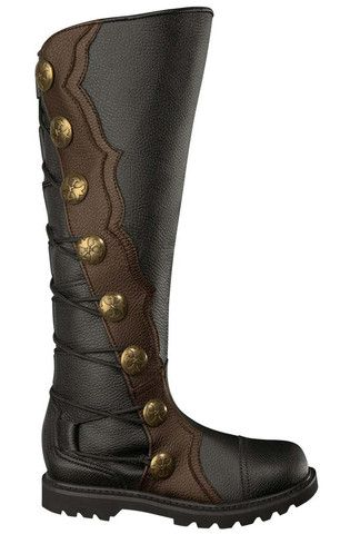 Men's Black and Brown Leather Knee High Ren Boots 1612-BKBR , Boots - House of Andar, House of Andar  - 1