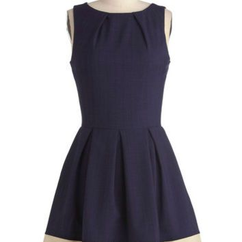 Closet Nautical Mid-length Sleeveless Fit & Flare Luck Be a Lady Dress in Navy