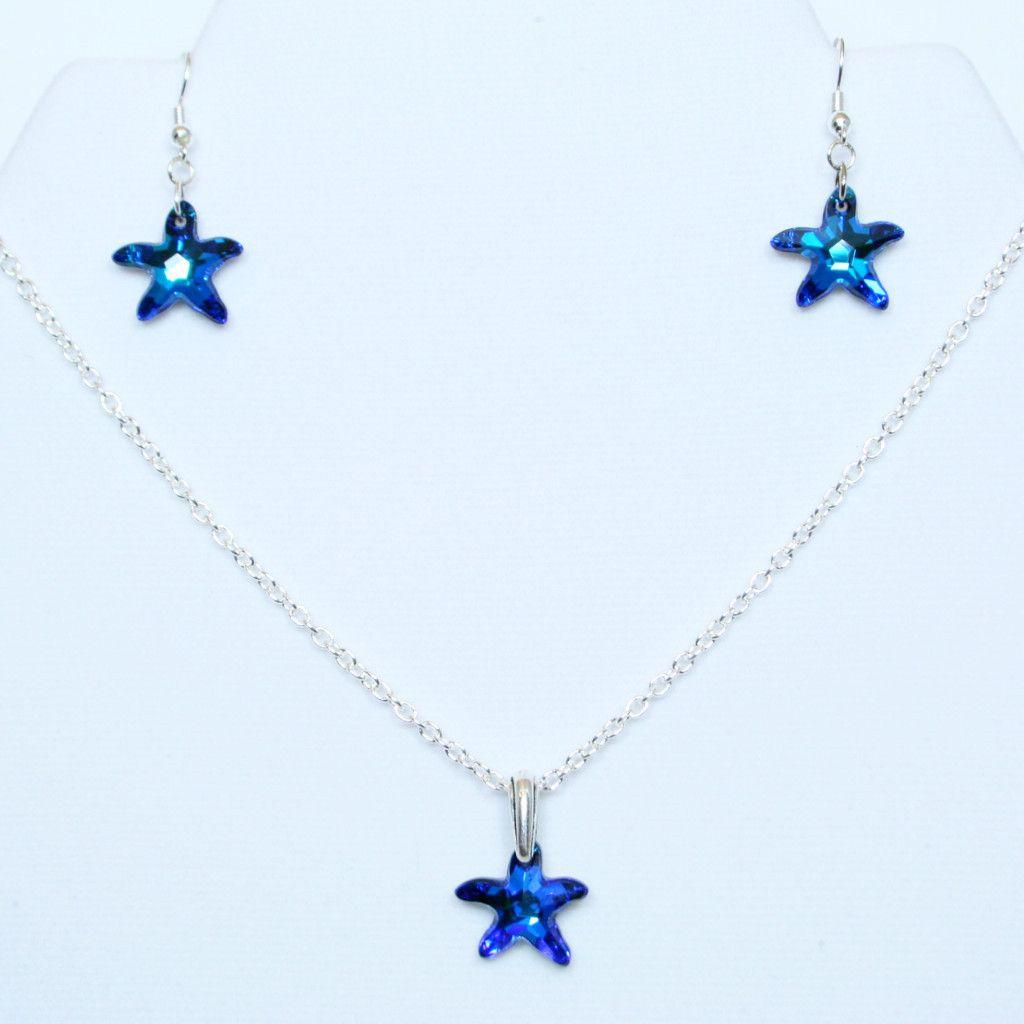 Bermuda blue starfish swarovski faceted crystal pendant set with