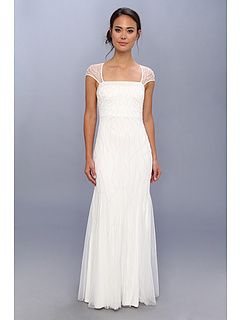 adrianna papell beaded gown w/ cap sleeve and envelope