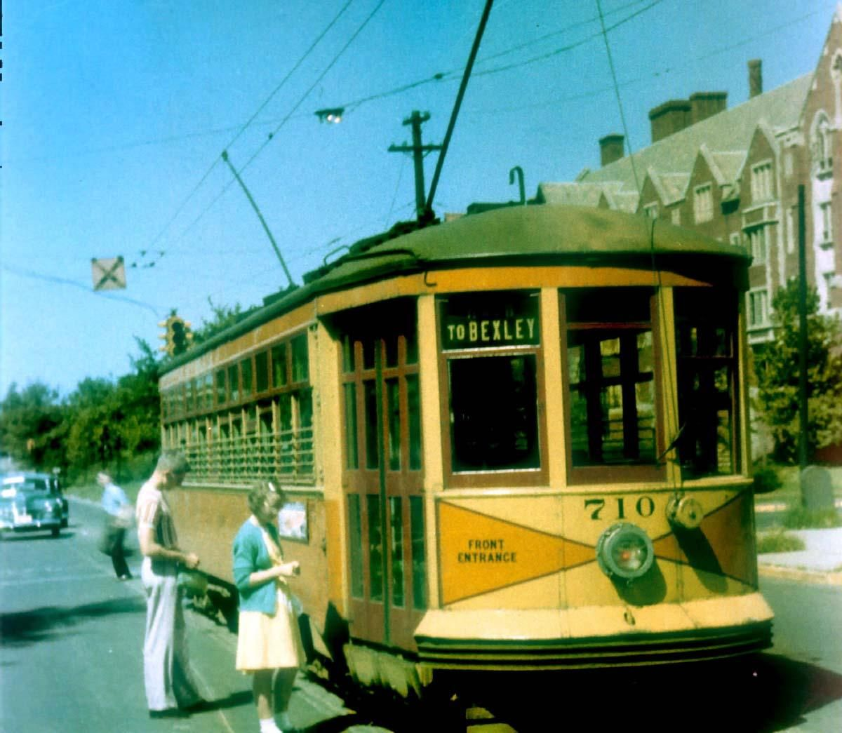 Riders Get On A Streetcar Near Ohio State University In August
