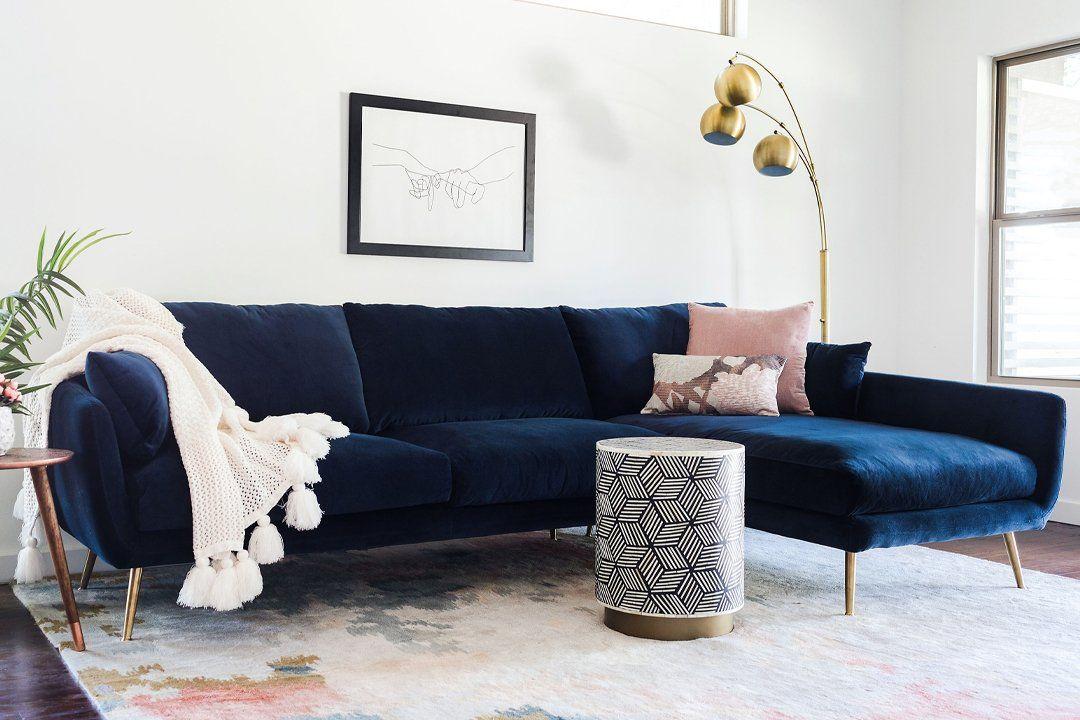 Harlow Sectional Sofa Blue Velvet Edloe Finch Furniture Co Blue Couch Living Room Modern Sofa Sectional Mid Century Modern Sectional Sofa