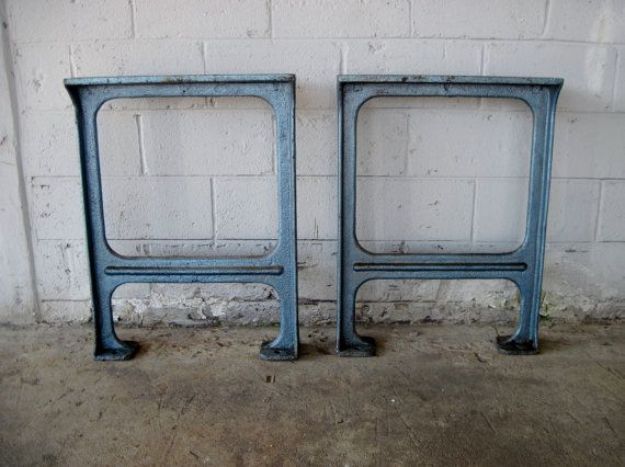 Antique Blue Cast Iron Machine Legs Workbench Work Bench Table Vintage Great Price Love The But At 313 4 Tall They Would Be Too