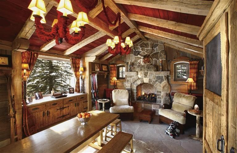 cozy, cozy. cute little windows beside fireplace. ski hut in Vail ...