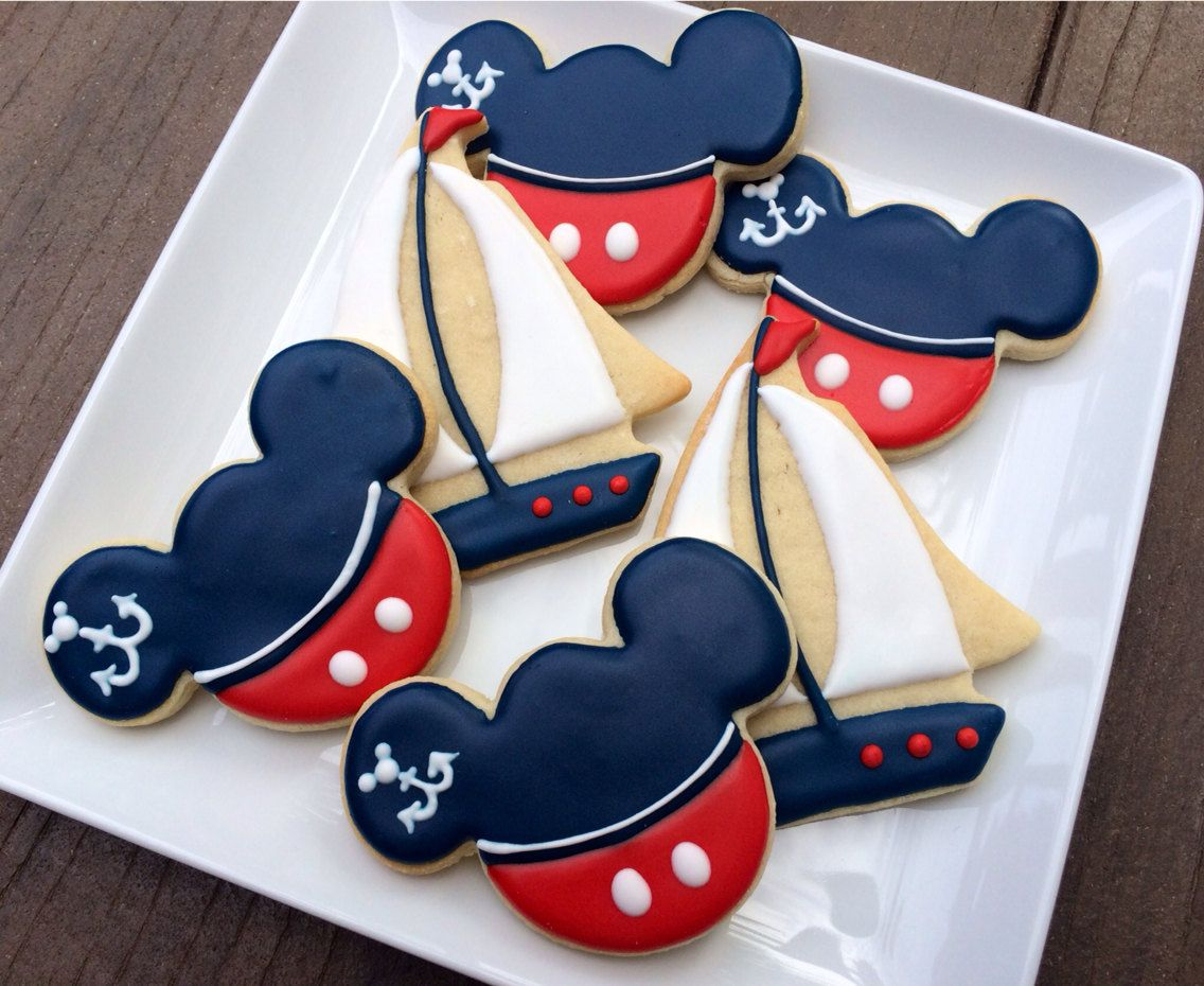 Nautical Mickey Cookies~                     1 dozen by LaPetiteCookie on Etsy, $34.00, blue, red, mouse ears, anchor, sailboat