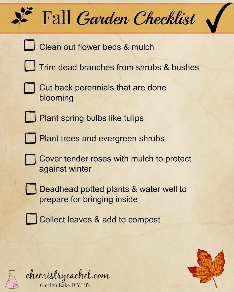 Fall Garden Checklist - Chemistry Cachet