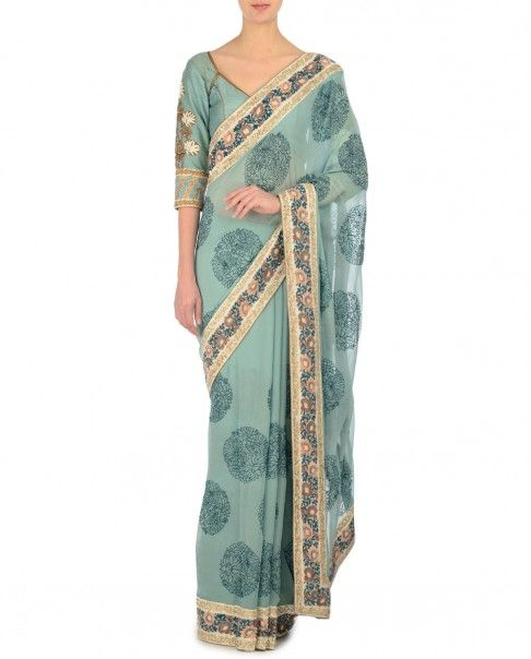 Ash Blue Sari with Embroidered Motifs