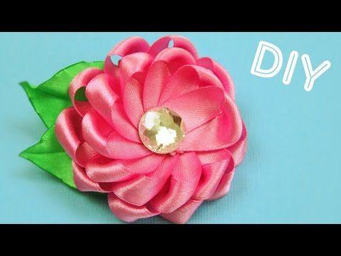 Брошь-Цветок из лент / Ribbon Flower Brooch / ✿ NataliDoma DIY #ribbonflower