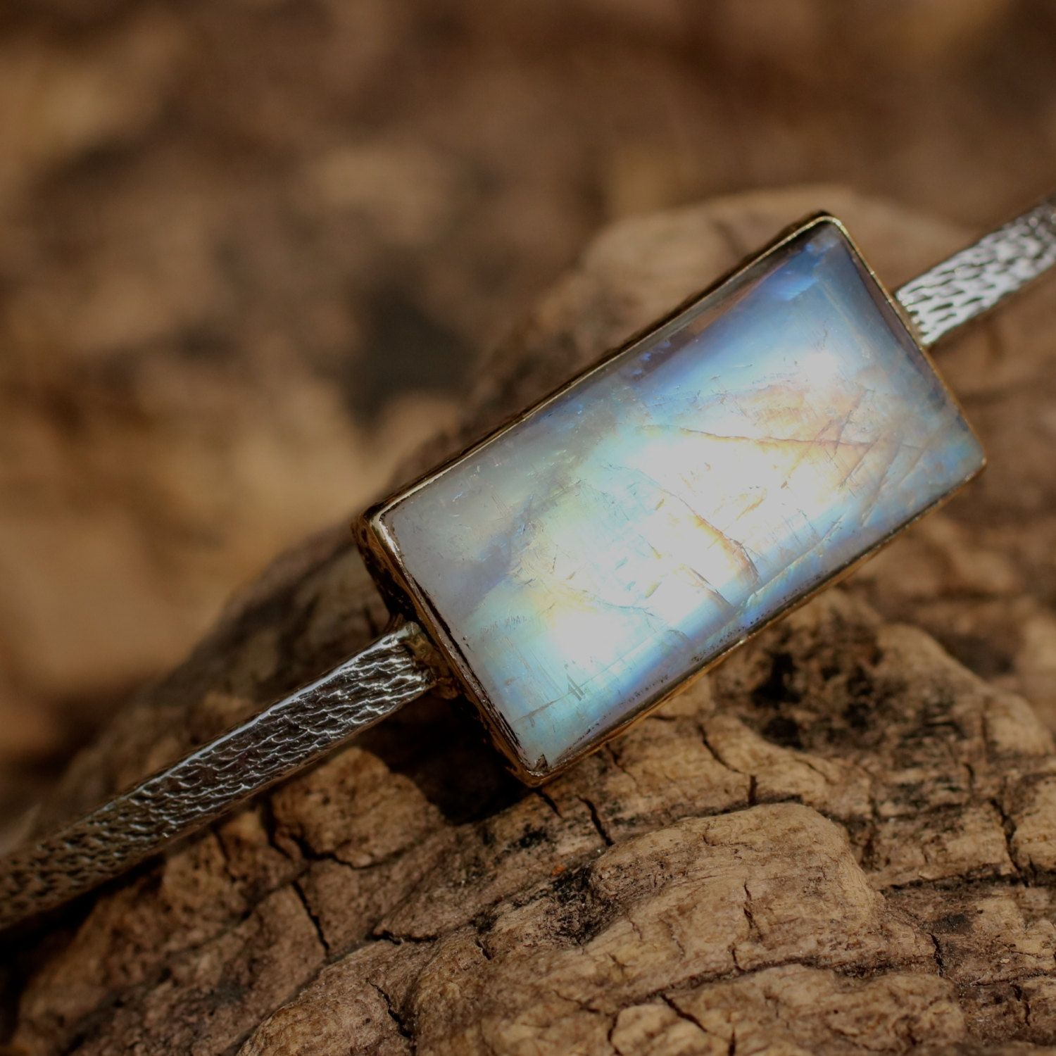 Square cut moonstone bangle bracelet in polished brass bezel setting with solid silver bangle Check more at