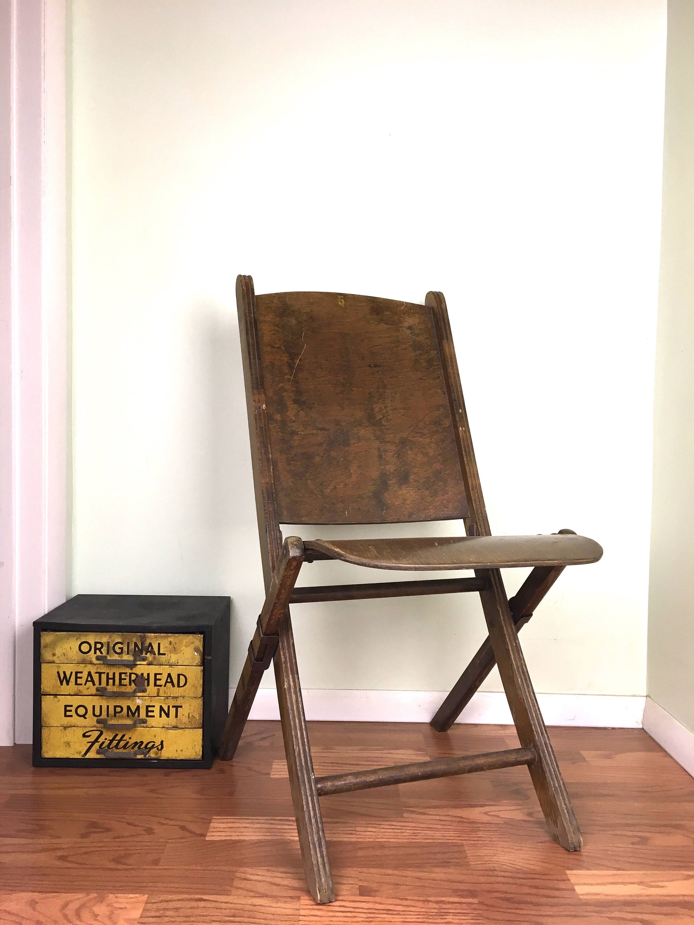 Antique Wood Folding Chair Early Wooden Picnic Chair 1930s Wood Theatre Style  Folding Chair   Vintage   Pinterest   Antiques, Chair And Folding Chair