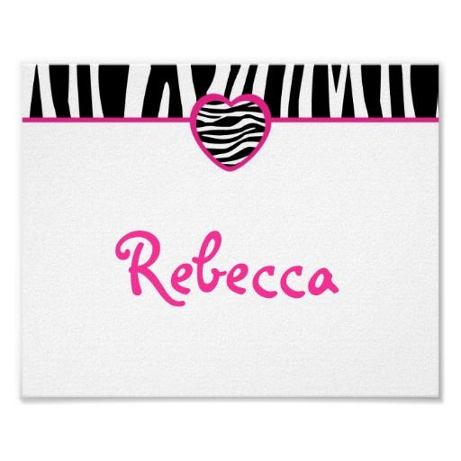 Funky Zebra Personalized Name Print Wall Art
