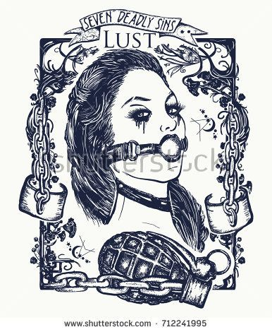 Lust Seven Deadly Sins Tattoo And T Shirt Design Sexy Woman