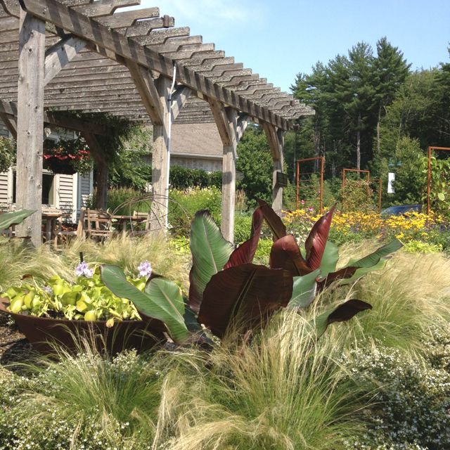 I Am Lapping Up The Lovely Gardens At The Stonewall Kitchen Gourmet Food Purveyors In Kittery Maine Not To Mention That Midnigh Formal Gardens Pergola Nature