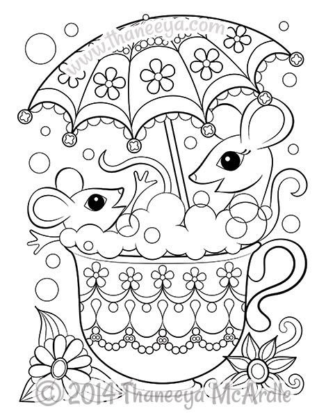 Mice In Teacup Coloring Page Coloring Pages Coloring Books