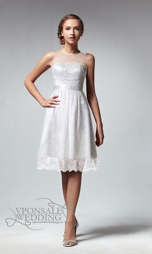 Short Sleeveless White Lace Bridesmaid Dress 2014