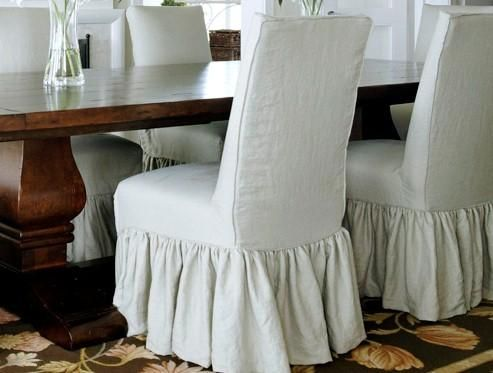 White Slipcovered Parsons Chairs For Dining Room In