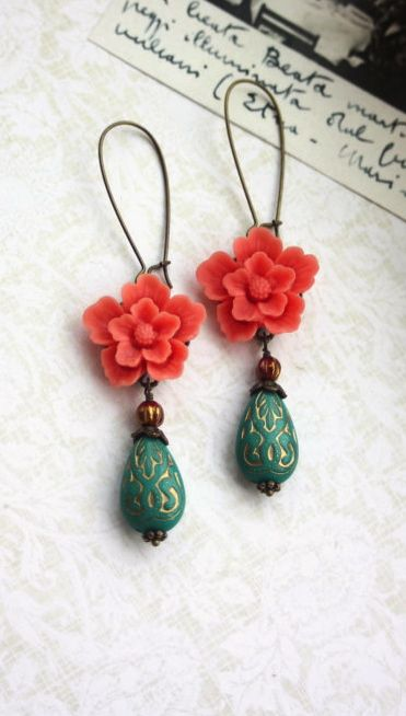 Coral Sakura, Green Ornate Beads with Gold Inlay Ornate Lucite Beads Earrings   By Marolsha.