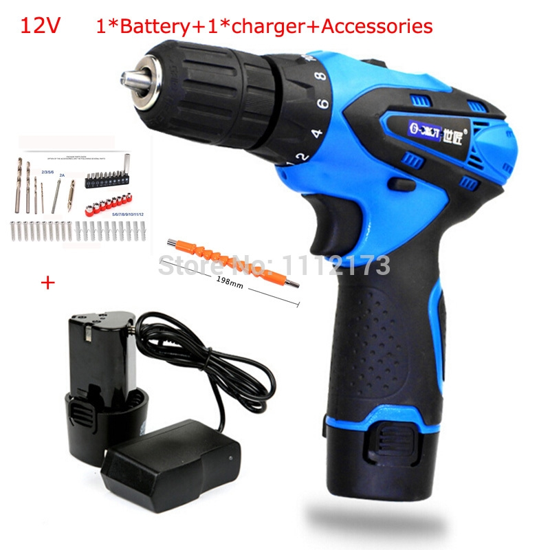 44.64$  Watch here - http://alihhq.shopchina.info/go.php?t=32651434796 - Double 2*speed 12V Waterproof Rechargeable Drill Cordless Screwdriver Electric Drill Tool Set+ Rechargeable battery+Charger 44.64$ #aliexpress