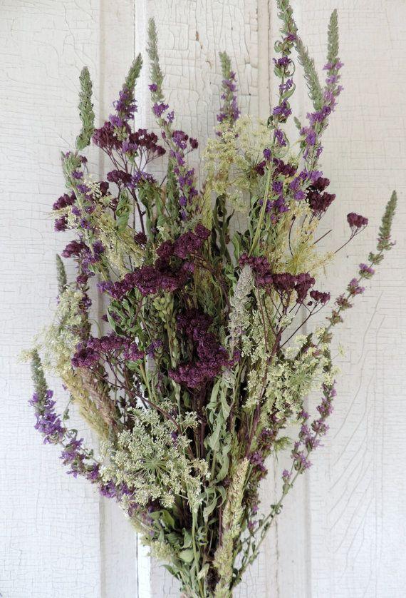 Dried Flower Bouquet Floral Arrangement Natural Meadow Grasses and ...