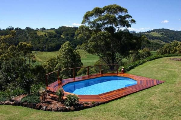 above ground pool decks on hillside