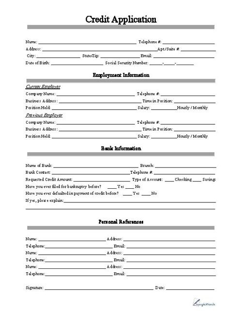 credit application form template Template – Sample Credit Application Form