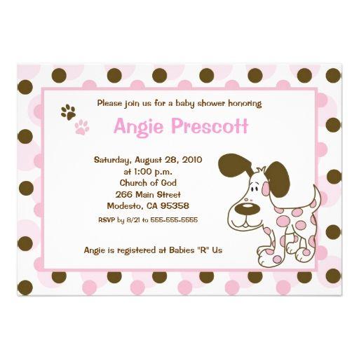 Pink Mod Puppy 5x7 Baby Shower Invitations