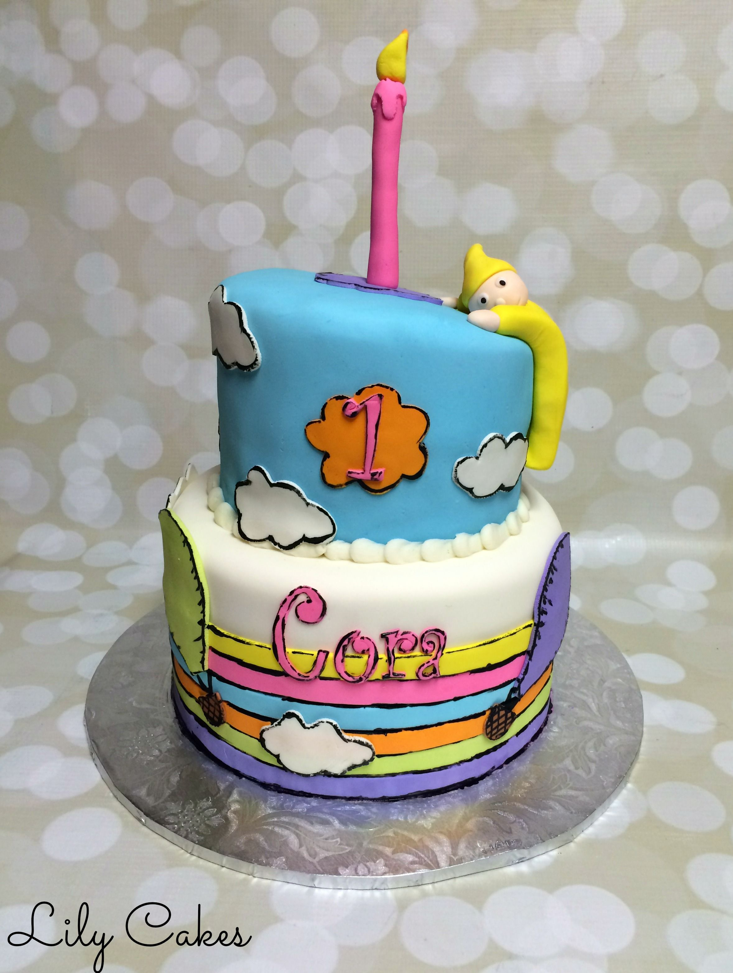 Oh The Places Youll Go Dr Seuss Themed 1st Birthday Cake