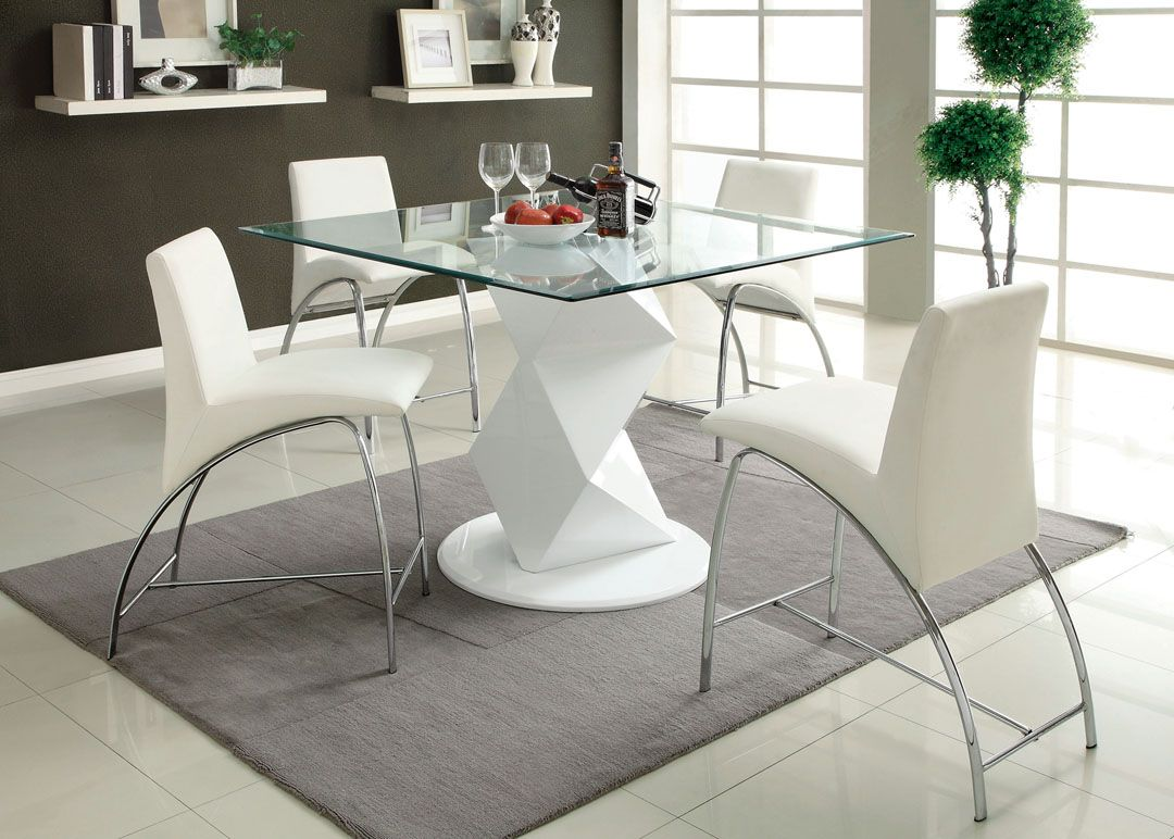 Ordinaire Square Glass Top Counter Height Dining Table