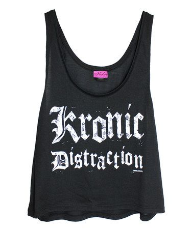 Look what I found on #zulily! Black 'Kronic Distraction' Slouchy Tank…