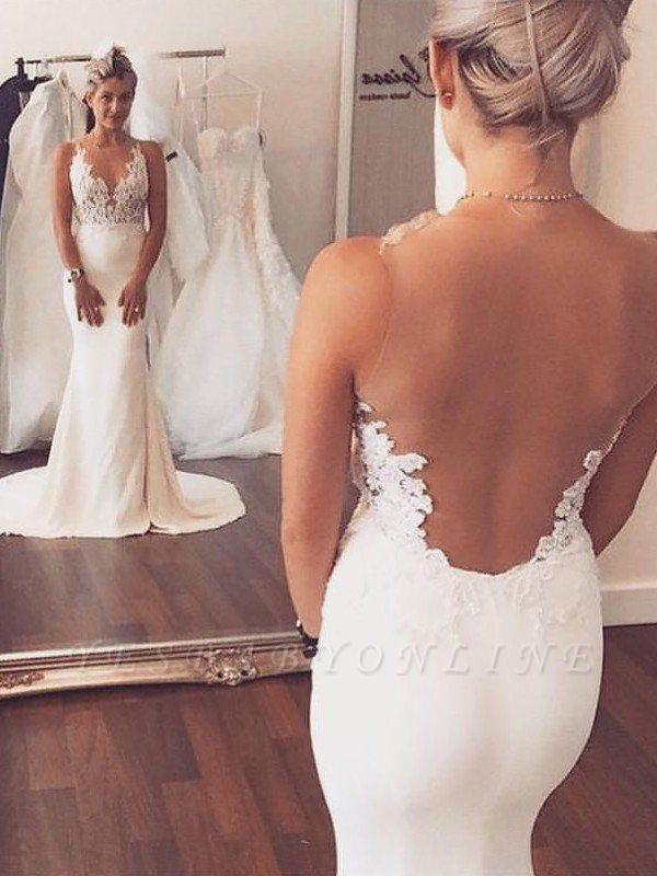 Photo of Sleek Satin Court Train Applique Sleeveless Scoop Sexy Mermaid Wedding Dresses