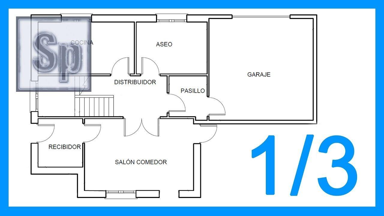 Autocad 1 3 Dibujar El Plano De Una Casa Paso A Paso En Autocad Tutor Planos De Casas Dibujos De Planos Planos