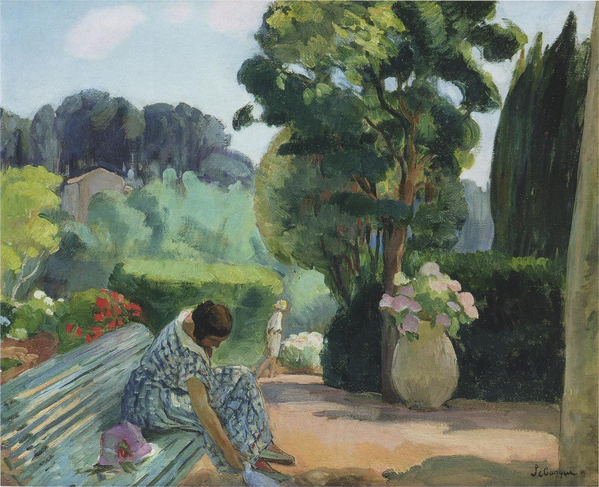 The Athenaeum - LEBASQUE, Henri French (1865-1937)_The Terrace in Pradet- circa 1923