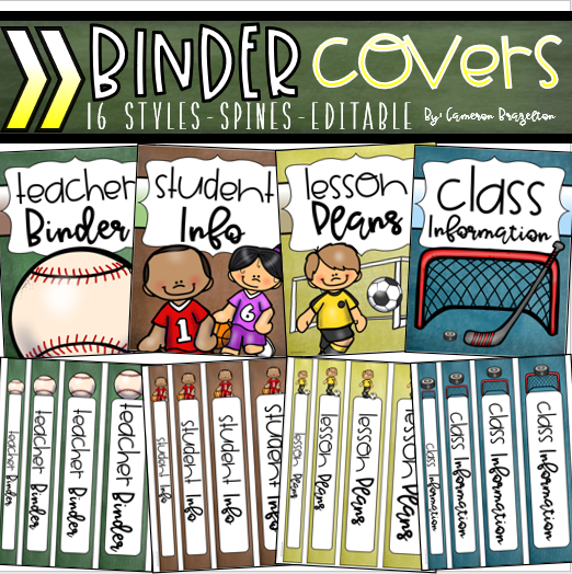 Binder Covers And Spines Teacher Planner Editable Sports