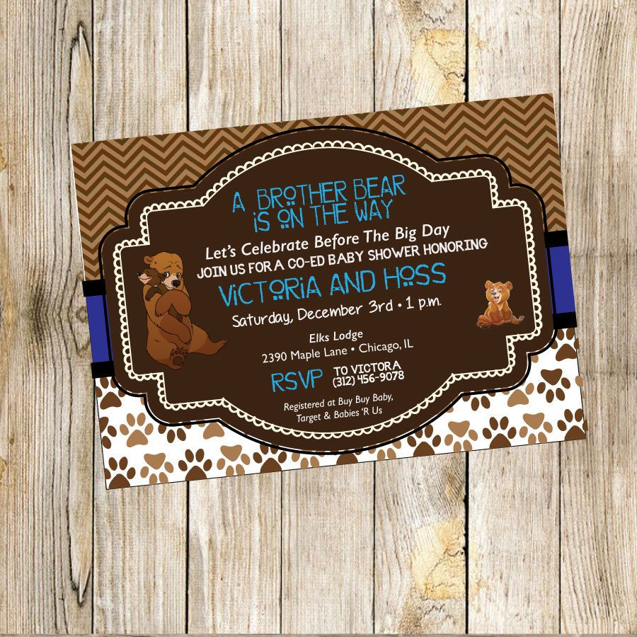 Brother Bear Baby Shower Invitation by TrishaTreeDesigns