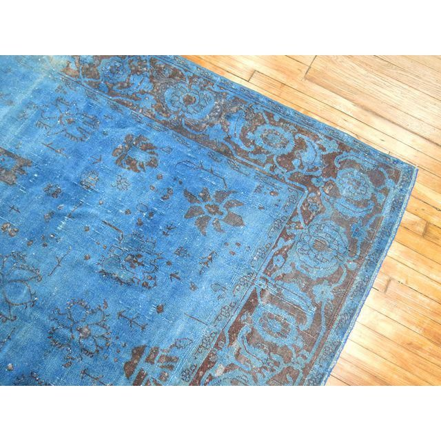 Cobalt Blue Overdyed Vintage Rug 6 4 X 10 6 In 2020 Vintage Rugs Rugs Vintage Turkish Rugs