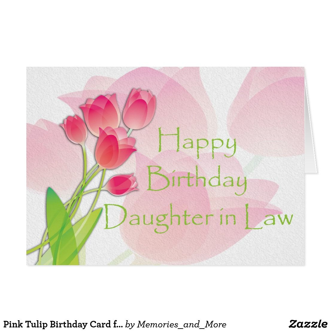 Pink Tulip Birthday Card for DaughterinLaw