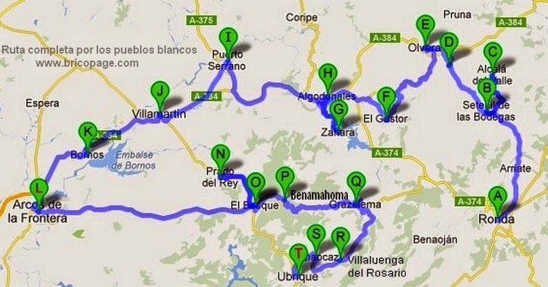 Mapa Pueblos Blancos Cadiz.Pin En Pueblo Blanco