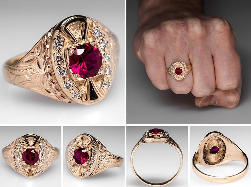 Vintage Mens Created Ruby Ring W Diamond Accents 14k Gold Mens Ruby Ring Mens Gold Rings Ruby Ring Vintage