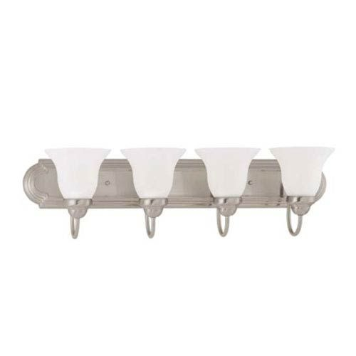 Photo of Nuvo Lighting 60/3324 Ballerina four-light energy star bathroom tap with matt white glass made of brushed nickel – brushed, traditional   Bellacor