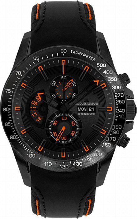 fedd752ed97fe3 Jacques Lemans Liverpool DayDate 1-1635D Men s Black Leather Strap Watch