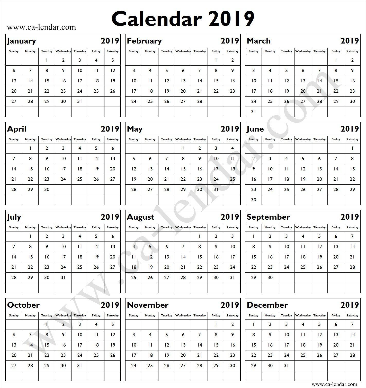 Blank 2019 Calendar Template Calendar Template Calendar 2019