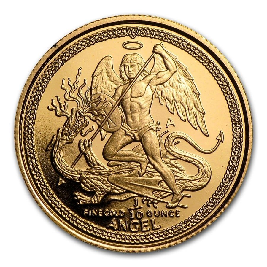 1 Bar102 24 Karat 1 10 Oz Isle Of Man Gold Angel Coin 3 11 Grams In 2020 Gold Isle Of Man Coins