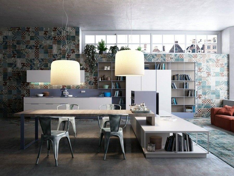 küchen ideen industrielle küche essbereich industrieller boden ...