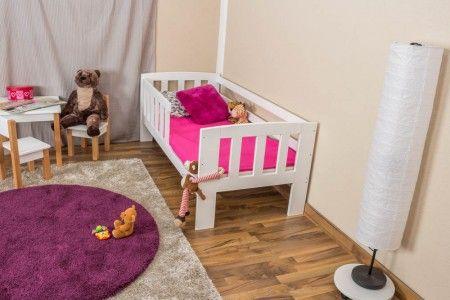 Kinderbett Mit Absturzsicherung Kiefer Vollholz Massiv Weiss